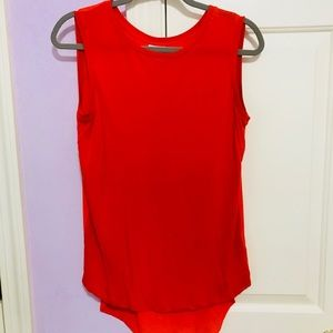 Red tank with sheer red back
